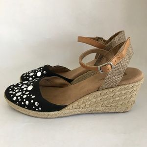 Black Wedge Espadrilles Sandals